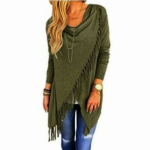 🆕⭐Olive Army green fringe sweater⭐
